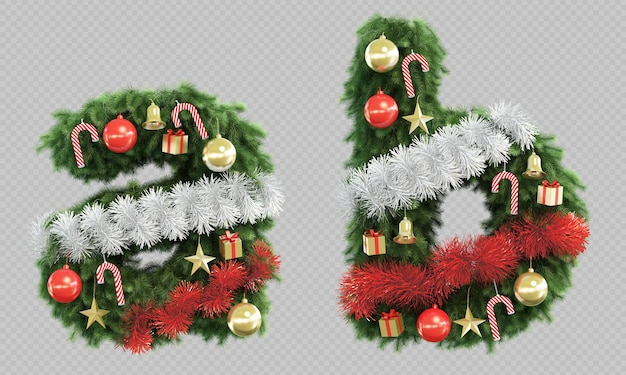 Rendering 3d di albero di natale lettera ae lettera b