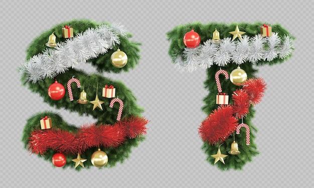 Rendering 3d della lettera s e della lettera t dell'albero di natale