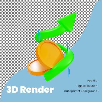 Moneta della rappresentazione 3d con l'illustrazione della freccia di profitto