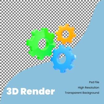 3d rendering icona ingranaggi colorati