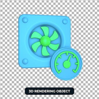 Rendering 3d sfondo trasparente dell'oggetto velocità ventola di raffreddamento