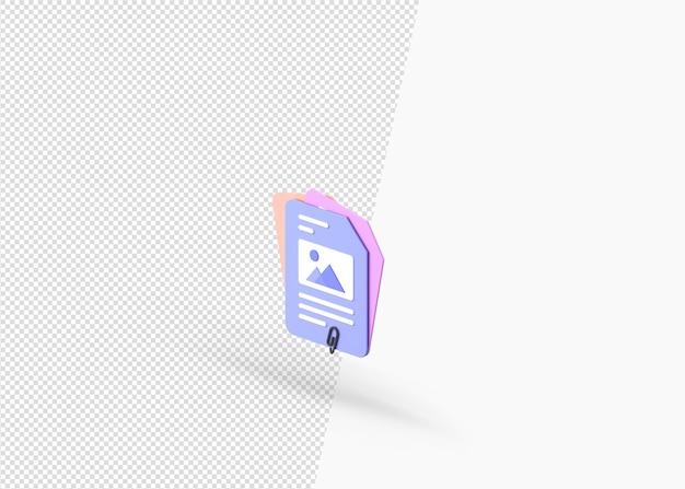 3d rendering copia link file concetto isolato