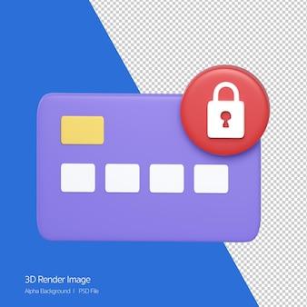 Rendering 3d di carta di credito con segno di blocco in alto a destra isolato su bianco.