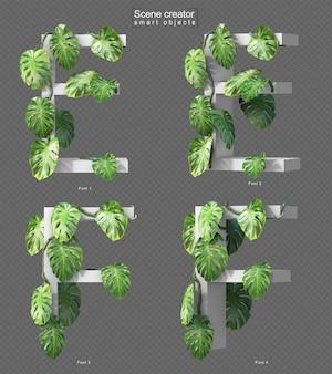Rendering 3d di monstera strisciante su alfabeto e e alfabeto f.