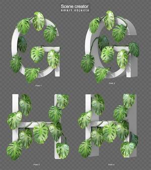 Rendering 3d di monstera strisciante su alfabeto g e alfabeto h.