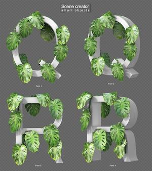 Rendering 3d di monstera strisciante su alfabeto q e alfabeto r.