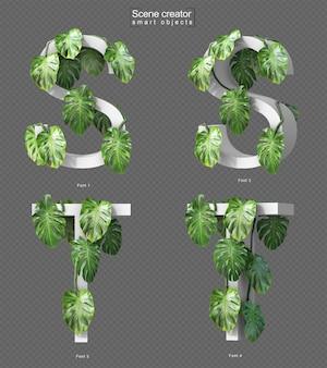 Rendering 3d di monstera strisciante su alfabeto s e alfabeto t.