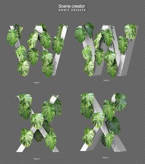 Rendering 3d di monstera strisciante su alfabeto w e alfabeto x.