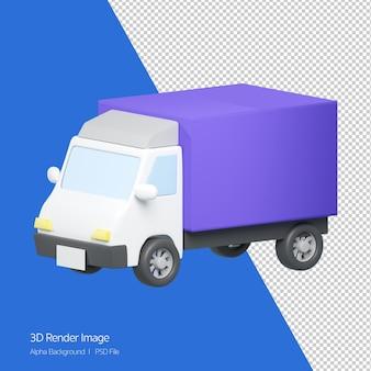 Rendering 3d dell'icona del camion di consegna isolata su bianco.