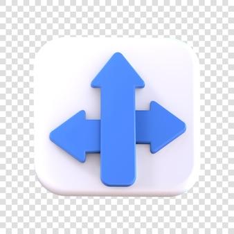 Icona di direzione del rendering 3d