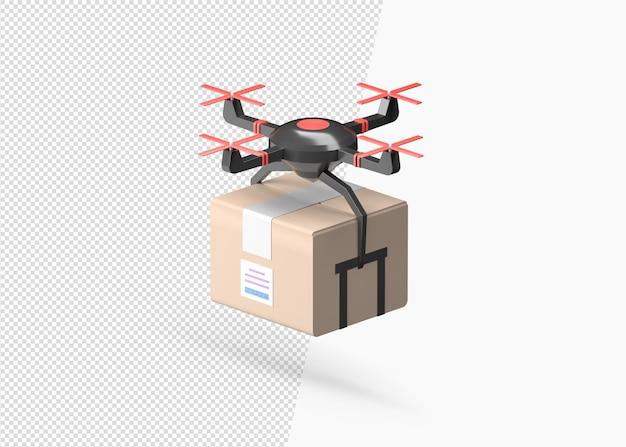 Consegna del drone di rendering 3d con la scatola di cartone
