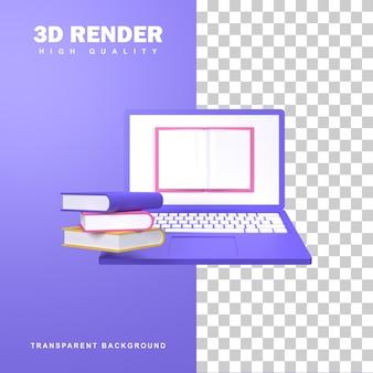 Rendering 3d concetto di e-learning con un libro di testo sullo schermo di un laptop.