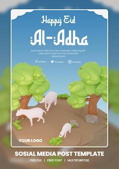 Rendering 3d del modello di tema del poster dei social media di eid al adha