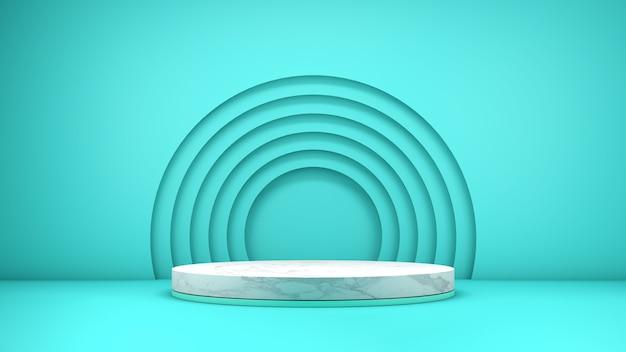 Rendering 3d di un elegante podio in marmo strutturato per l'esposizione del prodotto