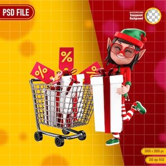 Rendering 3d del personaggio elfo con carrello della spesa