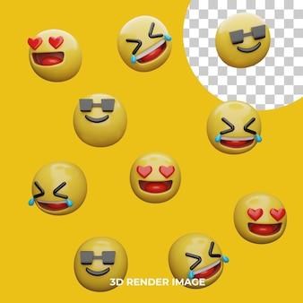 3d rendering espressioni emoji isolate