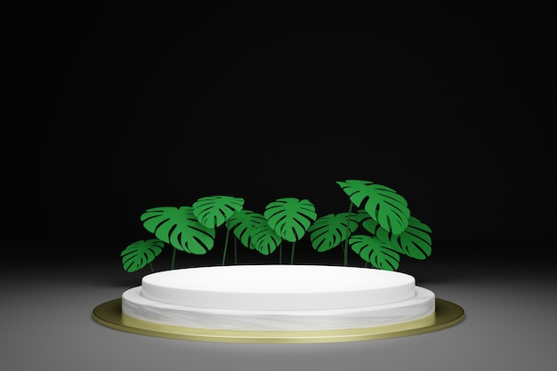 Mockup di podio vuoto rendering 3d con foglie tropicali