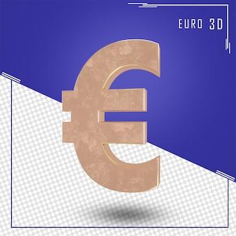 Rendering 3d del segno dell'euro con texture oro isolato