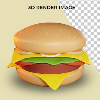 Rendering 3d di hamburger fast food