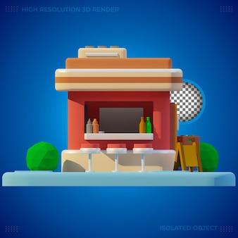 Rendering 3d edificio ristorante fast food