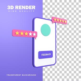 Concetto di feedback del rendering 3d di starring the shop.