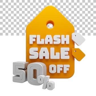 Rendering 3d vendita flash 50% di sconto sul testo