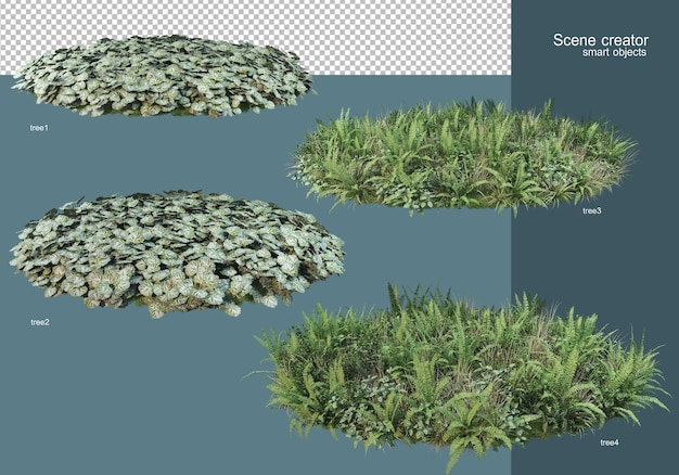 Rendering 3d la disposizione dei campi di fiori