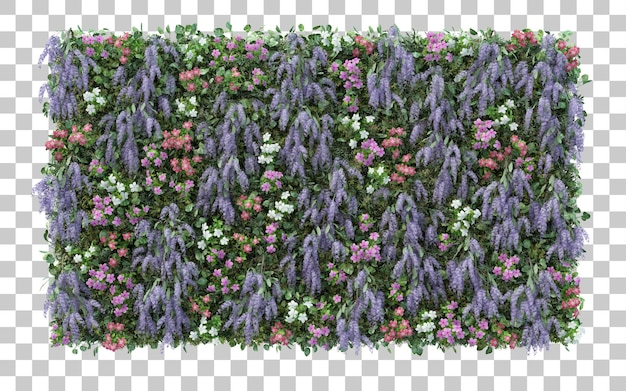 Rendering 3d giardino fiorito isolato