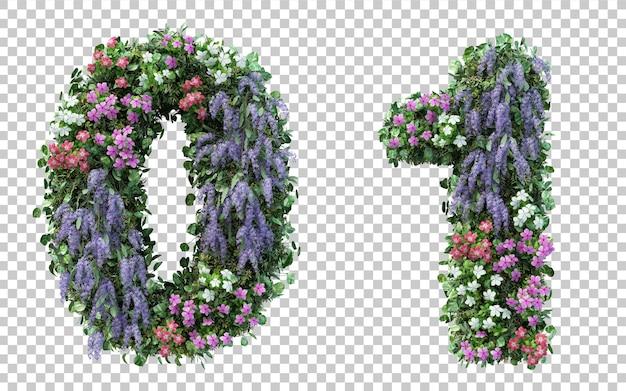 Rendering 3d giardino fiorito numero 0 e numero 1 isolati