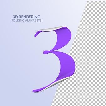 Rendering 3d del numero piegato