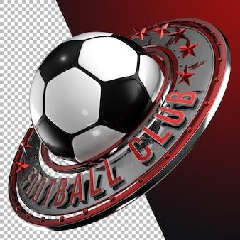 Rendering 3d calcio calcio emblema grafico