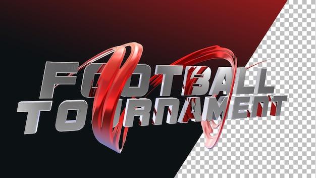 Tipografia di torneo di calcio di calcio rendering 3d