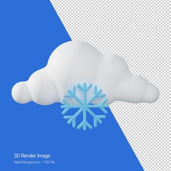 Rendering 3d delle previsioni del tempo 'frosty' isolato su bianco.