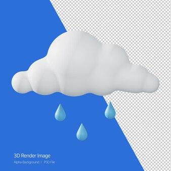 Rendering 3d di previsioni meteo 'piove' isolato su bianco.