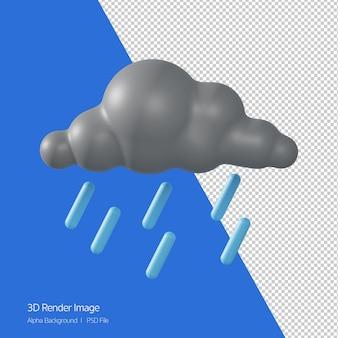 Rendering 3d di previsioni meteo 'raining shower' isolato su bianco.