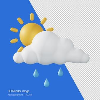 Rendering 3d delle previsioni del tempo 'pioggia di sole' isolato su bianco.
