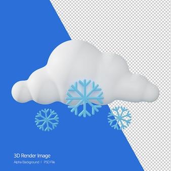 Rendering 3d di previsioni meteo 'snowing' isolato su bianco.