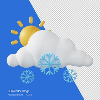 Rendering 3d di previsioni meteo 'snowing sunny' isolato su bianco.