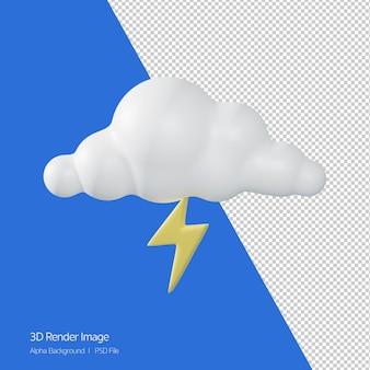 Rendering 3d di previsioni meteo 'thunder' isolato su bianco.