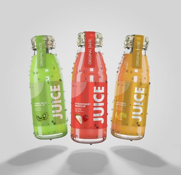 Rendering 3d di mockup di succo di frutta fresco con bottiglia di vetro