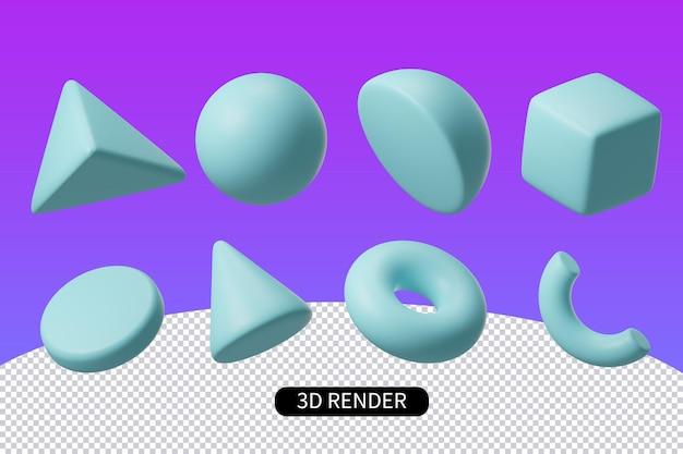 Rendering 3d elemento triangolo colonna sfera geometrica quadrata