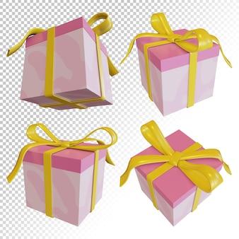 Rendering 3d di confezione regalo con cravatte a nastro per confezione regalo di compleanno isolato