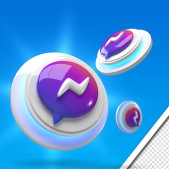 Rendering 3d incandescente messaggero set di icone social media