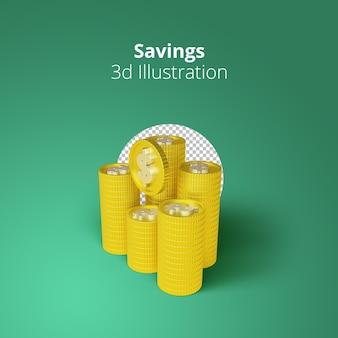 3d che rende pile di monete d'oro con il concetto di risparmio di denaro