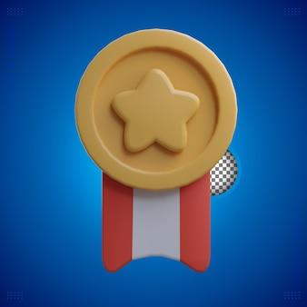 3d rendering medaglia d'oro con stella e nastro rosso