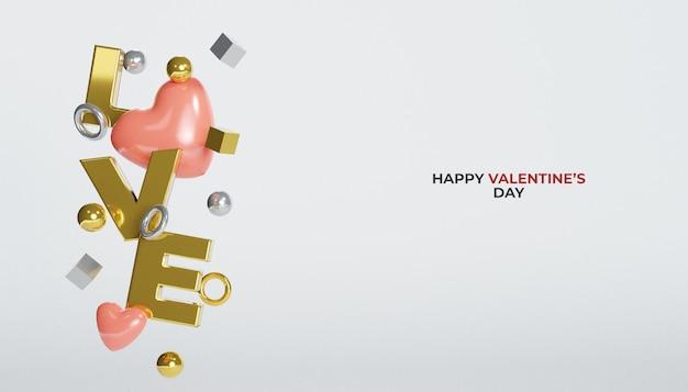 Rendering 3d lettera d'amore d'oro con il cuore di san valentino