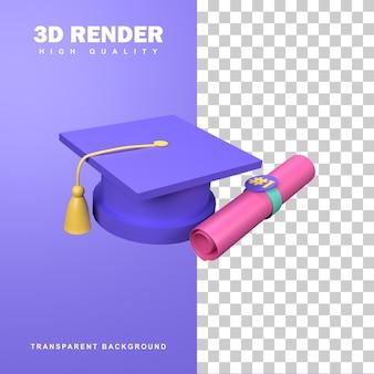 Concetto di laurea rendering 3d con tappo di laurea e lettera di laurea.