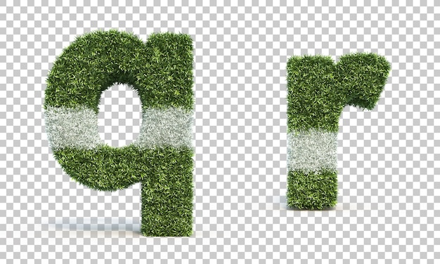 Rappresentazione 3d dell'alfabeto q del campo da gioco dell'erba e dell'alfabeto r