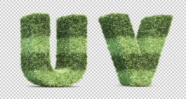 Rendering 3d di erba campo da gioco alfabeto u e alfabeto v