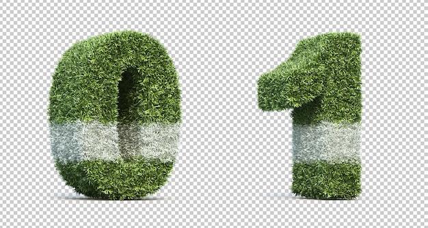Rendering 3d del campo da gioco in erba numero 0 e numero 1